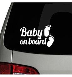 Sticker auto Baby on board et pieds
