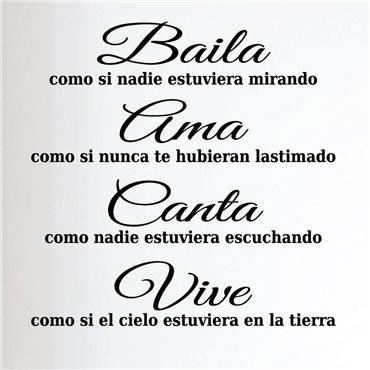 Sticker Citation Espagnol - Baila, ama, canta, vive… - stickers citations & stickers muraux - fanastick.com