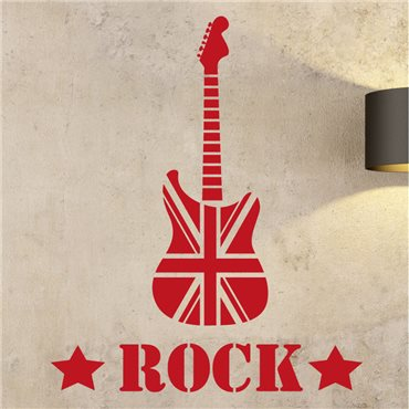 Sticker Guitar Rock - Union Jack - stickers musique & stickers muraux - fanastick.com