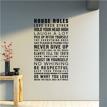 Sticker house rules - stickers citations & stickers muraux - fanastick.com