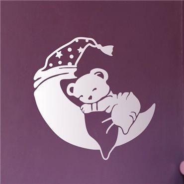 Sticker lune et ourson - stickers chambre bébé & stickers enfant - fanastick.com