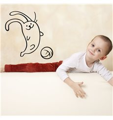Sticker Petit lapin jouant au foot