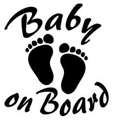 Sticker Bébé à bord avec l'empreinte de bébé