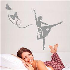 Sticker Danseuse de ballet et papillons