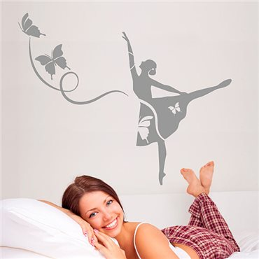 Sticker Danseuse de ballet et papillons - stickers chambre fille & stickers enfant - fanastick.com