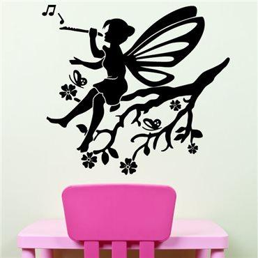 Sticker Fée sur une branche fleurie - stickers chambre fille & stickers enfant - fanastick.com