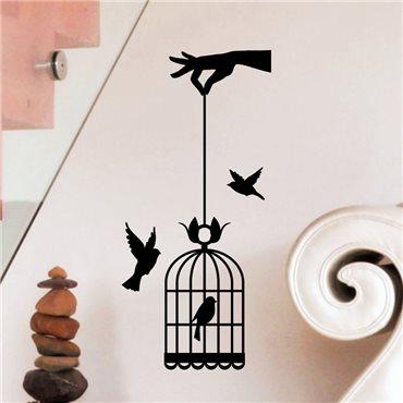 Sticker main tenant cage à oiseaux - stickers oiseaux & stickers muraux - fanastick.com