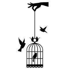 Sticker main tenant cage à oiseaux
