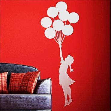 Sticker fille avec des ballons flottant - stickers personnages & stickers muraux - fanastick.com