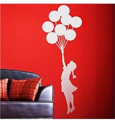 Sticker fille avec des ballons flottant