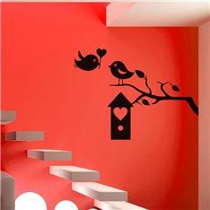 Sticker oiseaux et boîte à coeur