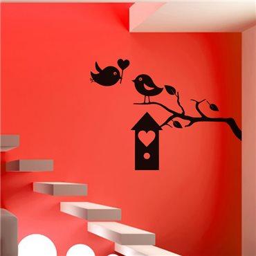 Sticker oiseaux et boîte à coeur - stickers oiseaux & stickers muraux - fanastick.com