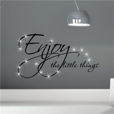 Sticker Enjoy things & 15 Swarovski crystal 3mm - stickers swarovski® elements & stickers muraux - fanastick.com