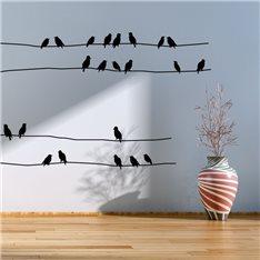 Sticker Oiseaux étourneaux sur câbles