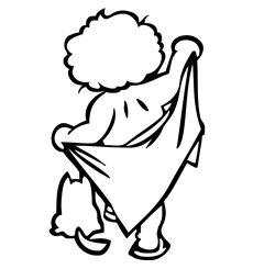 Sticker garçon avec la serviette