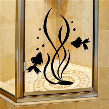 Sticker algues et poissons 2 - stickers salle de bain & stickers muraux - fanastick.com