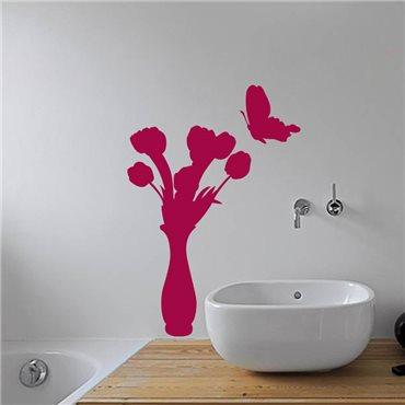 Sticker Papillon et vase de fleur - stickers fleurs & stickers muraux - fanastick.com