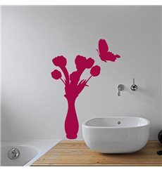 Sticker Papillon et vase de fleur