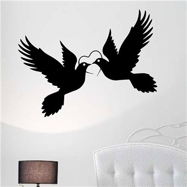 Sticker Silhouettes colombes - stickers oiseaux & stickers muraux - fanastick.com