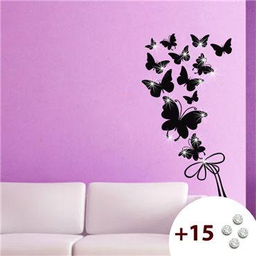 Sticker Papillons et ruban +15 cristaux Swarovski - stickers swarovski® elements & stickers muraux - fanastick.com