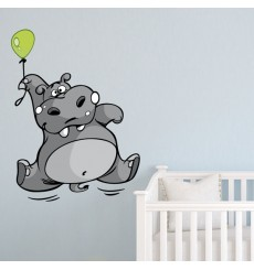 Sticker Hippopotame ballon