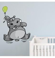 Sticker Hippopotame ballon