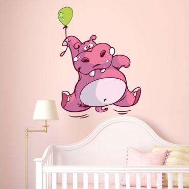 Sticker Hippopotame ballon - stickers animaux enfant & stickers enfant - fanastick.com