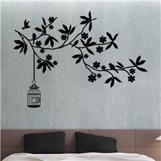 Sticker Cage d'oiseau et fleurs