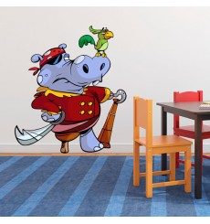 Sticker Hippopotame pirate