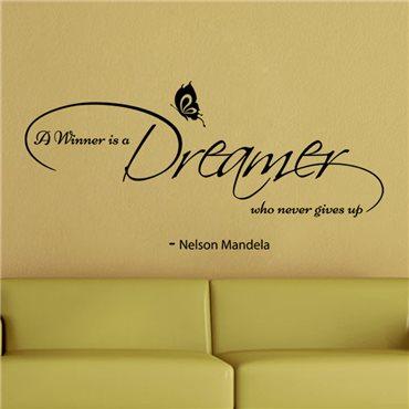 Sticker Nelson Mandela - A winner is a dreamer - stickers citations & stickers muraux - fanastick.com