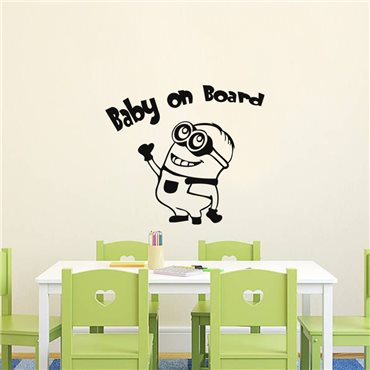Sticker Baby on board dessin animé - stickers chambre enfant & stickers enfant - fanastick.com