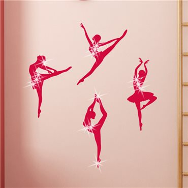 Sticker Danseurs de ballet & 15 Swarovski crystal 3mm - stickers swarovski® elements & stickers muraux - fanastick.com