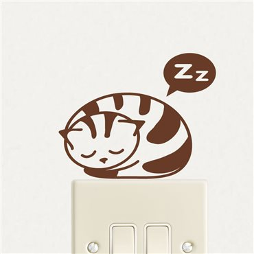 Sticker chaton qui dort en boule - stickers interrupteur & stickers muraux - fanastick.com
