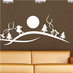 Sticker Scène d'hiver avec le Père Noël