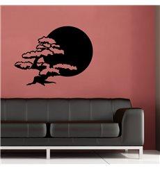 Sticker soleil et bonsaï