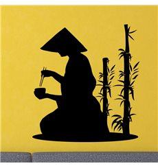 Sticker moine et le bambou