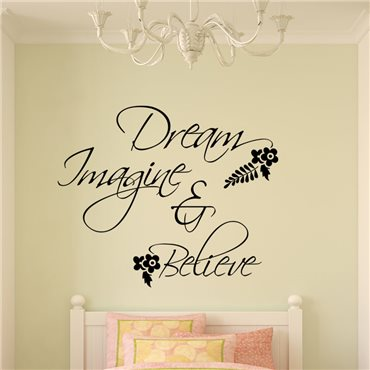 Sticker Dream, imagine & believe - stickers citations & stickers muraux - fanastick.com