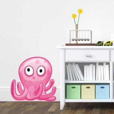 Sticker Pieuvre Rose - stickers animaux enfant & stickers enfant - fanastick.com