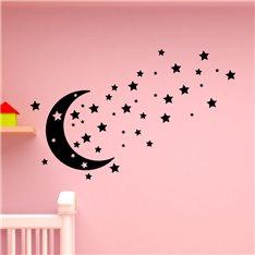 Sticker Design lune, étoiles