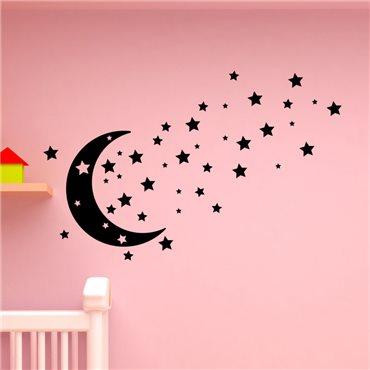 Sticker Design lune, étoiles - stickers chambre bébé & stickers enfant - fanastick.com
