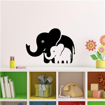 Sticker Eléphants de maman et bébé - stickers chambre bébé & stickers enfant - fanastick.com