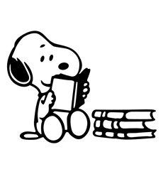 Sticker Snoopy lisant un livre