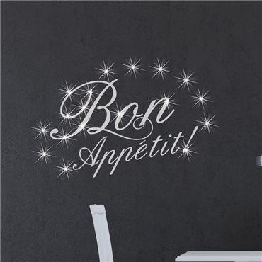 Sticker Bon appetit & 15 Swarovski crystal 3mm - stickers swarovski® elements & stickers muraux - fanastick.com