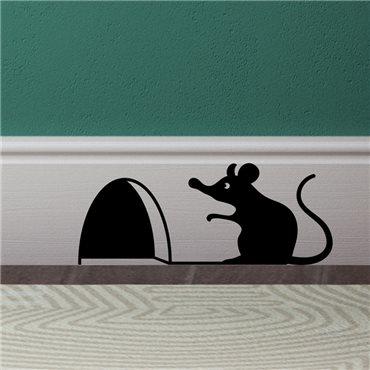 Sticker trou de souris avec la souris assis - stickers animaux & stickers muraux - fanastick.com