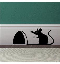 Sticker trou de souris avec la souris assis