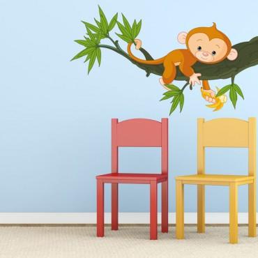 Sticker Singe sur sa branche - stickers animaux enfant & stickers enfant - fanastick.com