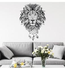 Sticker ethnique tête de lion 40x55cm