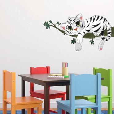 Sticker Tigre sur sa branche - stickers animaux enfant & stickers enfant - fanastick.com